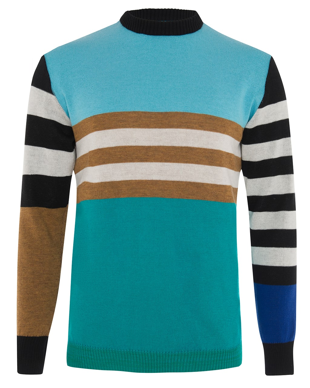 Colour Block Striped Jumper Blue