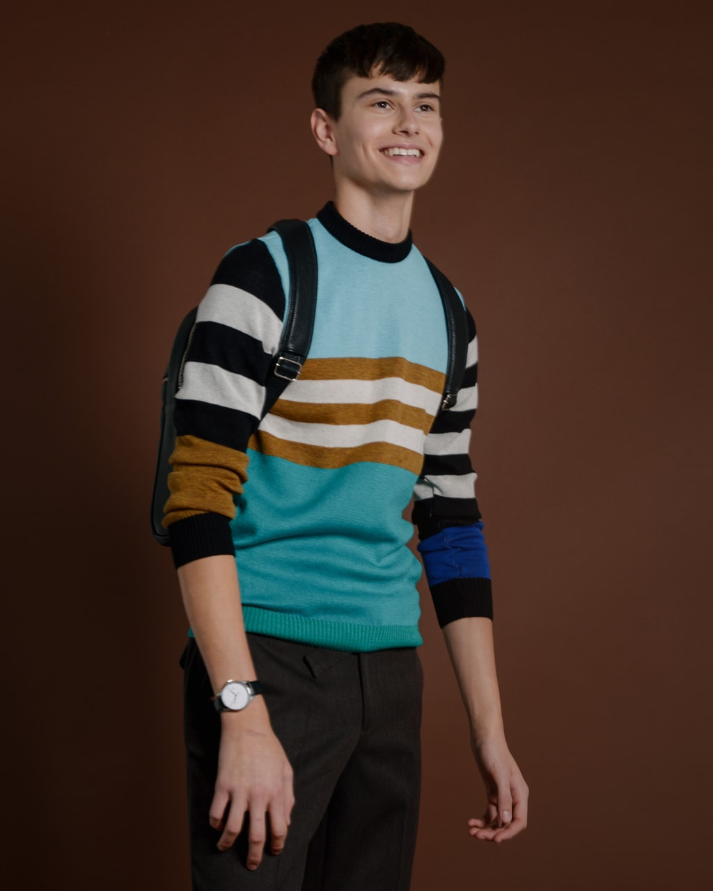 Colour Block Striped Jumper Blue