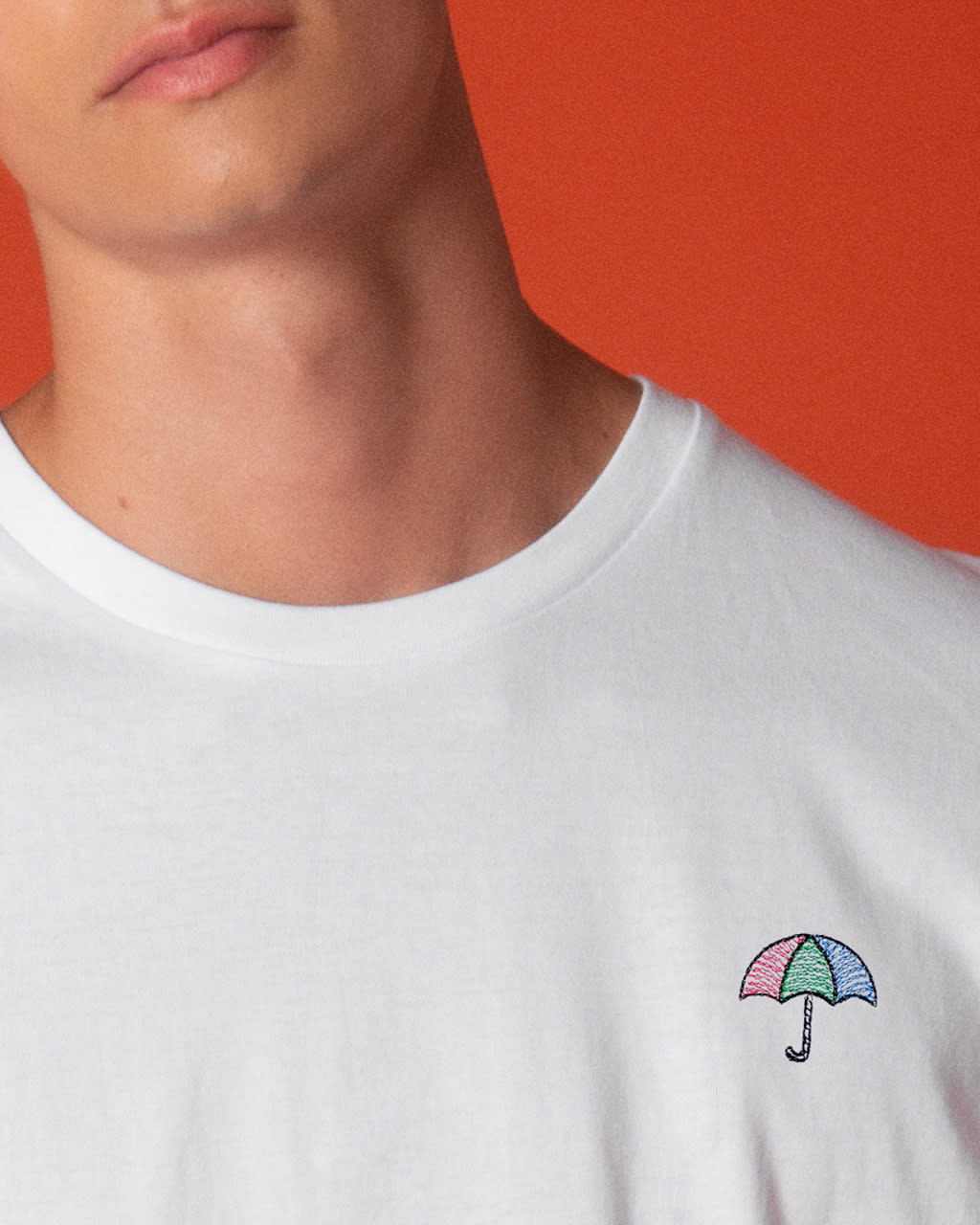 Umbrella Embroidered T-Shirt White Men