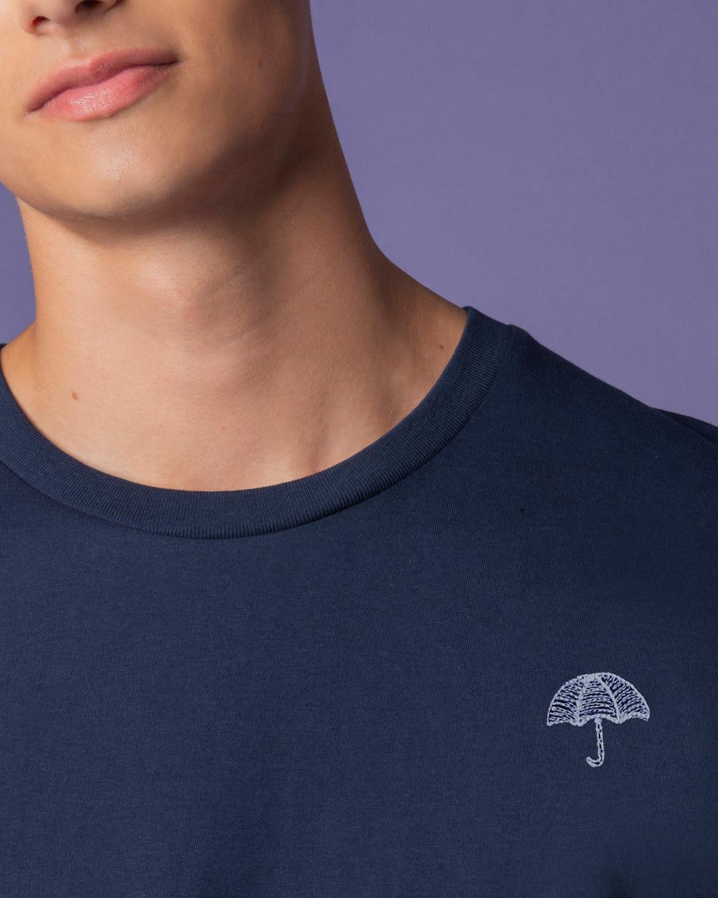 Umbrella Embroidered T-Shirt Navy Men