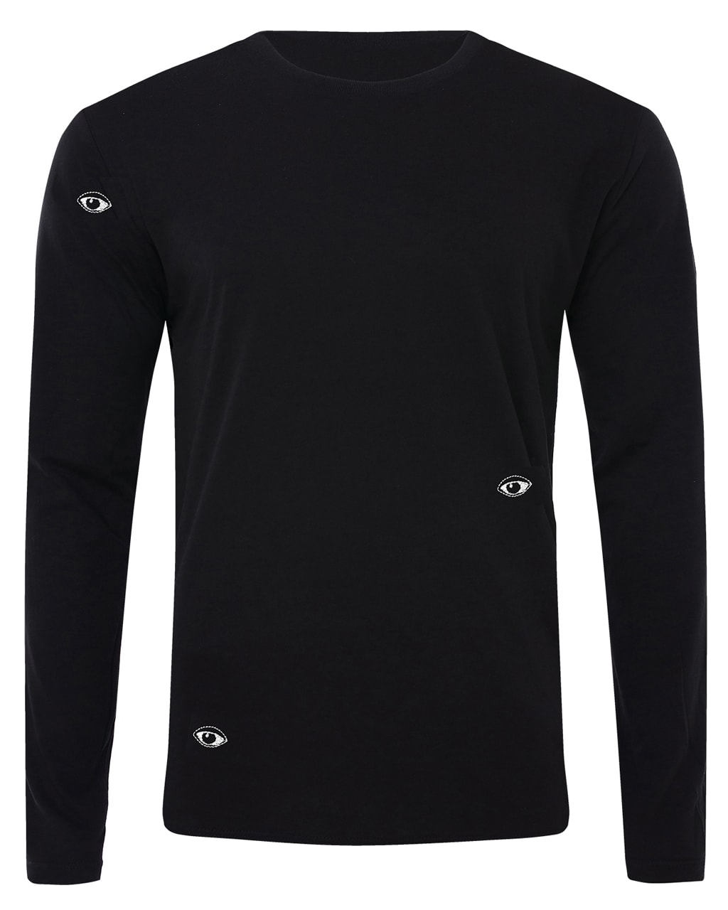 Eyes Embroidered Long Sleeved Top Black