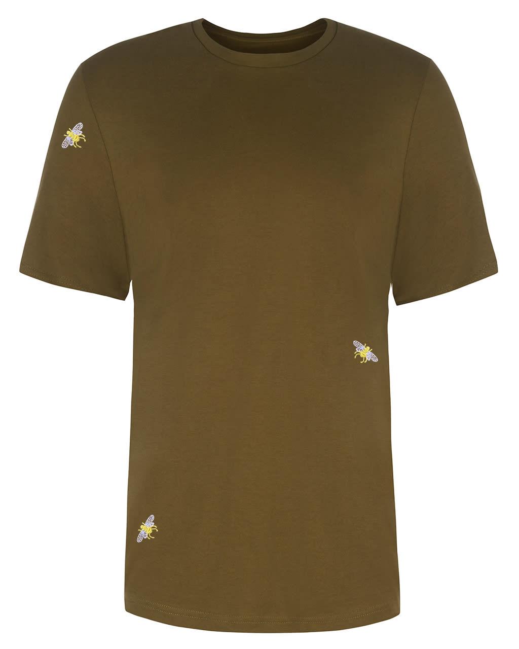 Bee Embroidered T-Shirt Khaki