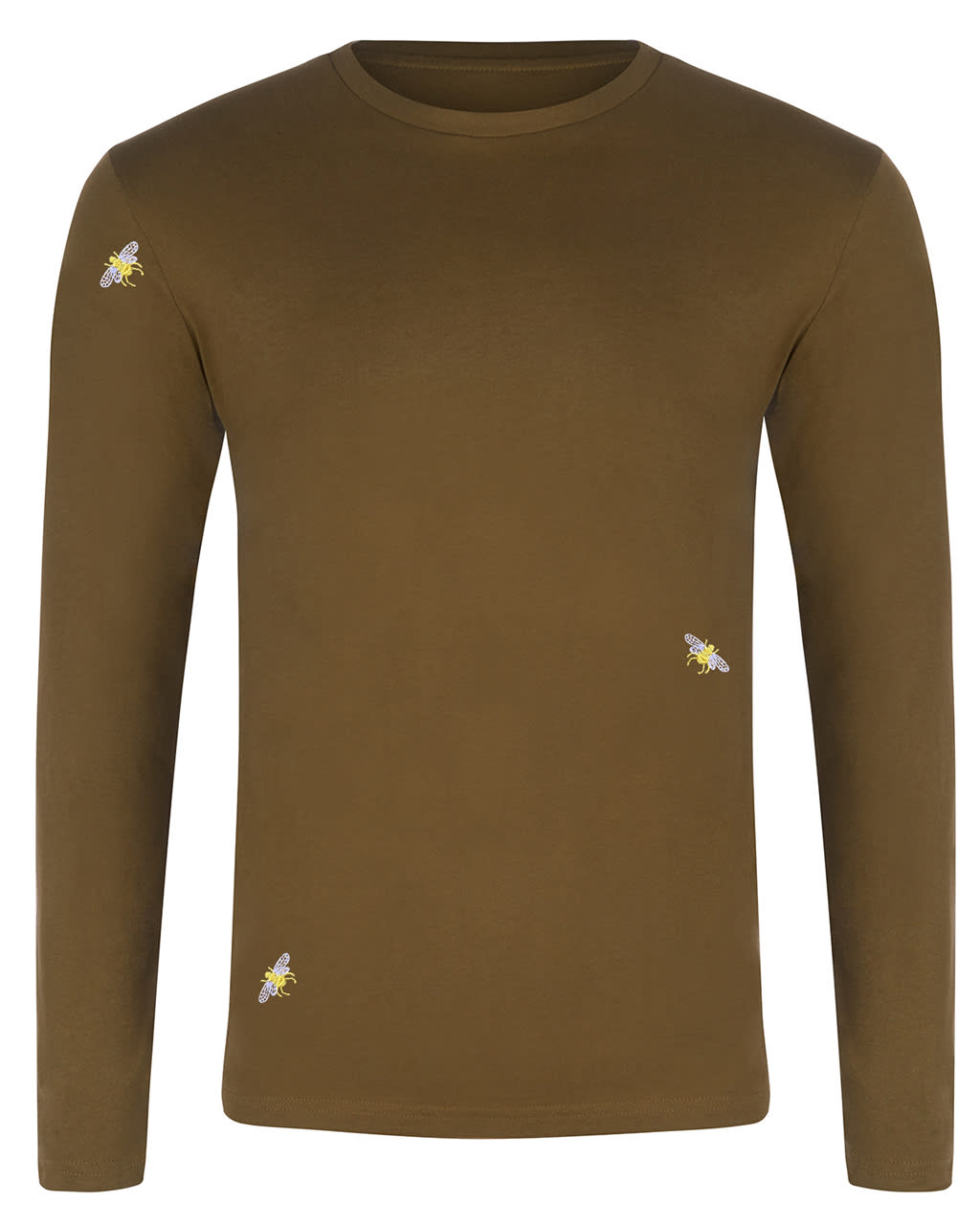Bee Embroidered Long Sleeved Top Khaki