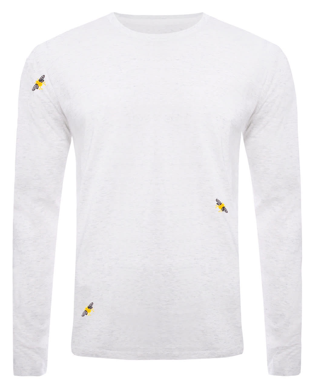 Bee Embroidered Long Sleeved Top Heather Grey