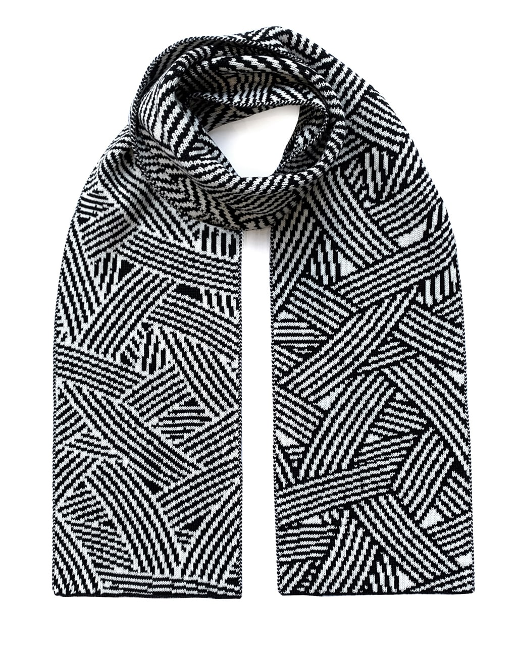 Geometric Striped Wool & Cashmere Scarf