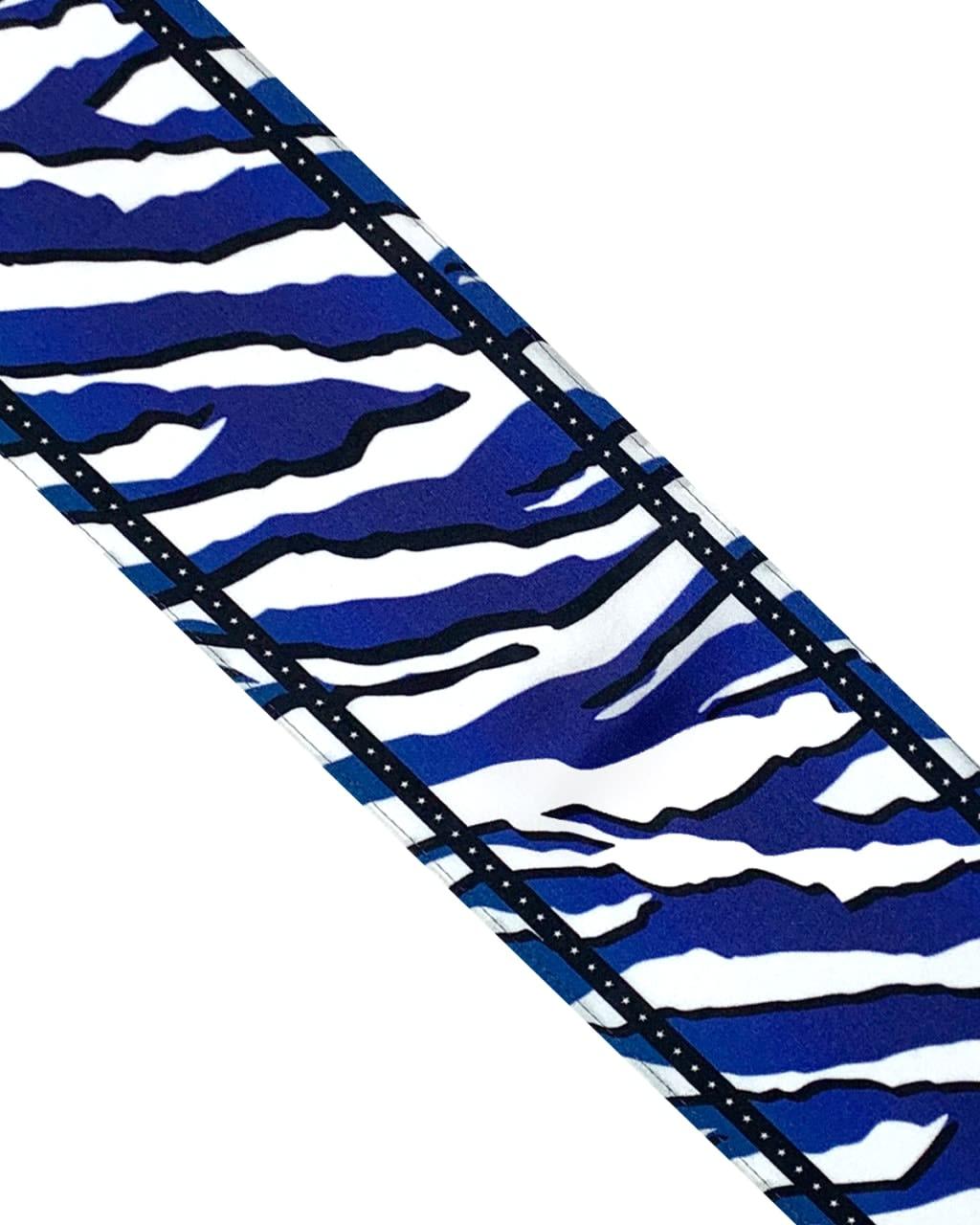Wild Tiger Silk Neck Scarf Electric Blue