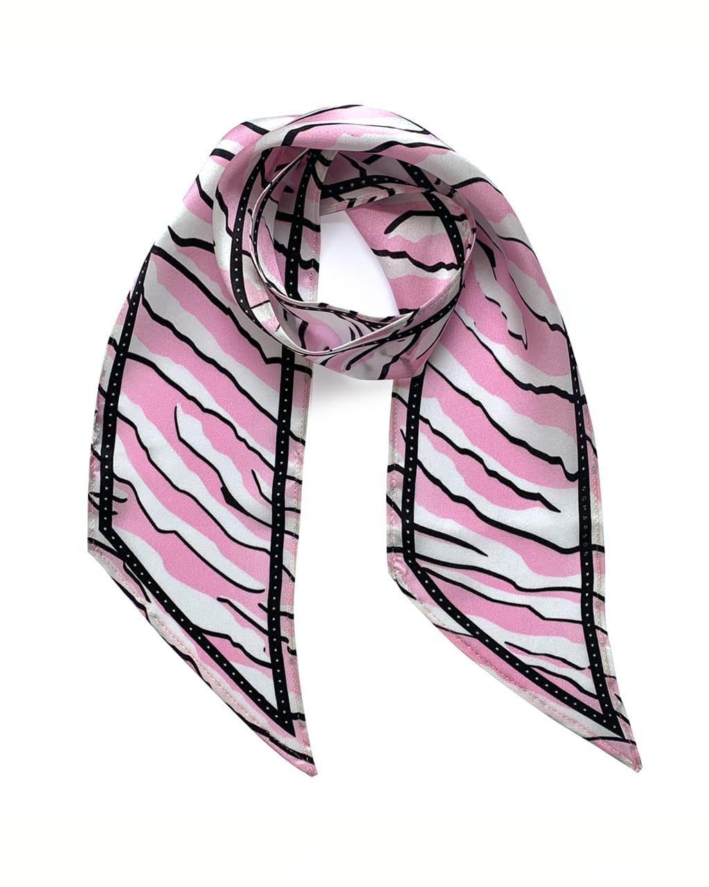 Wild Tiger Silk Neck Scarf Pink