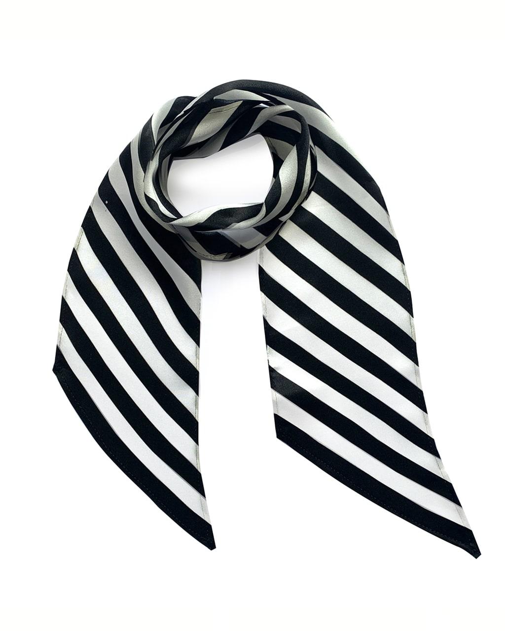 Stripy Silk Neck Scarf Black & White