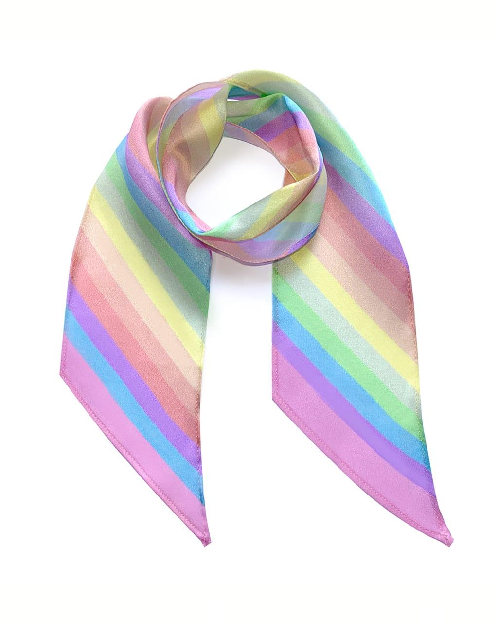 Stripy Silk Neck Scarf Rainbow Pastel