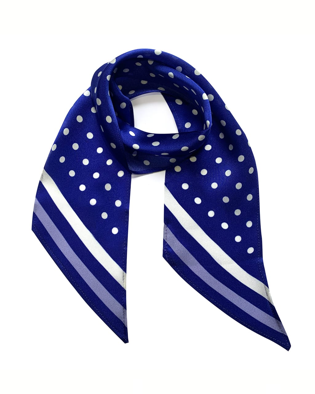 Polka Dot Silk Neck Scarf Electric Blue