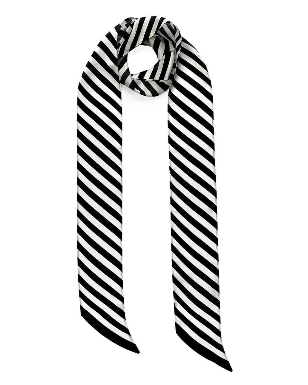 Stripy Silk Neck Scarf Long Black & White