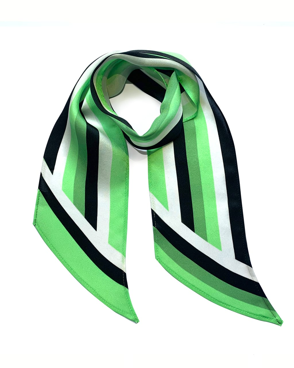 Henley Silk Stripe Neck Scarf Mint Green