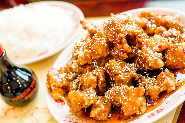 Top menu item, sesame chicken.