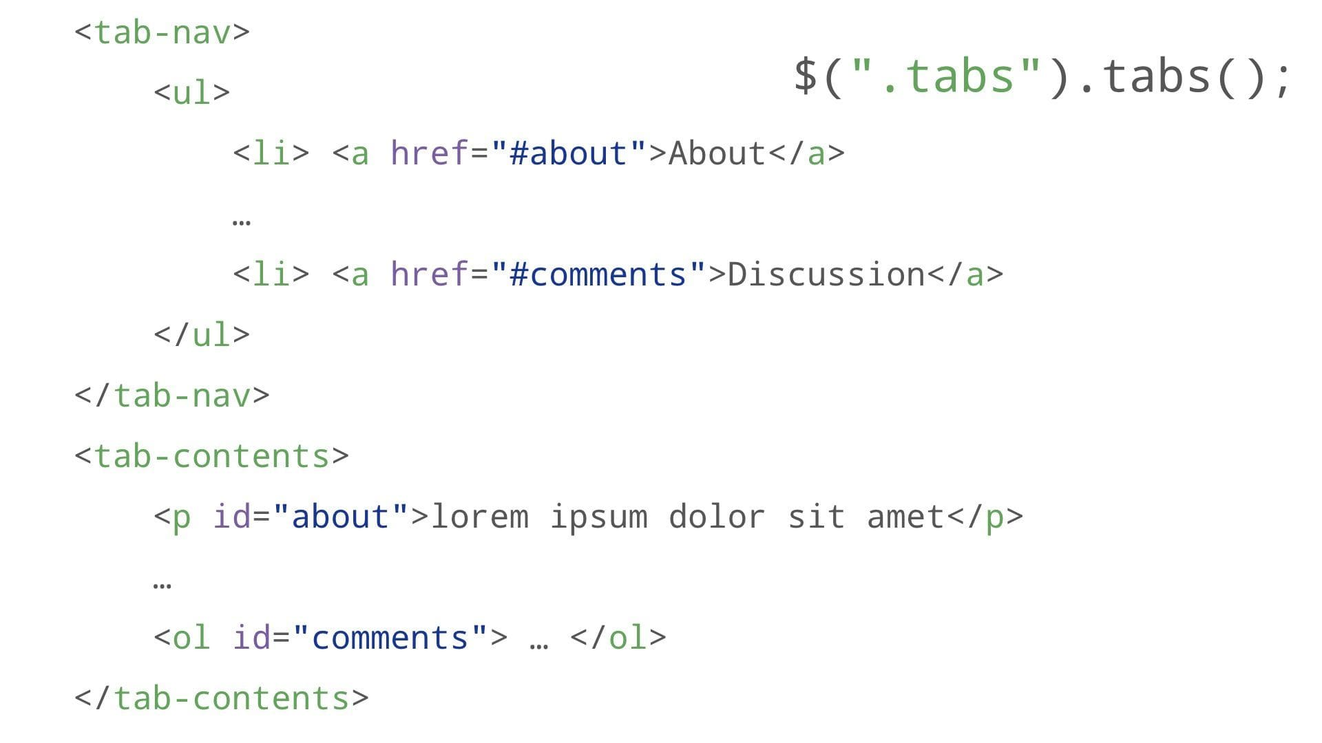 tabs markup with tab-contents