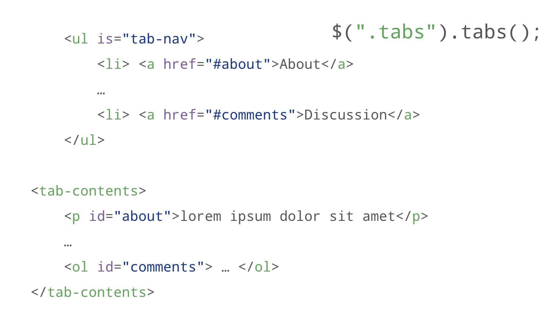 tabs markup with ul is tab-nav