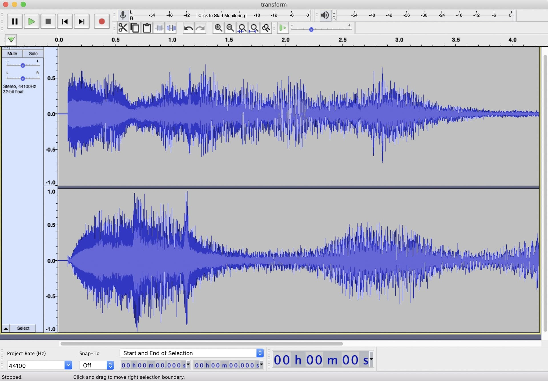 Wave forms of our sound sample – left and right channels