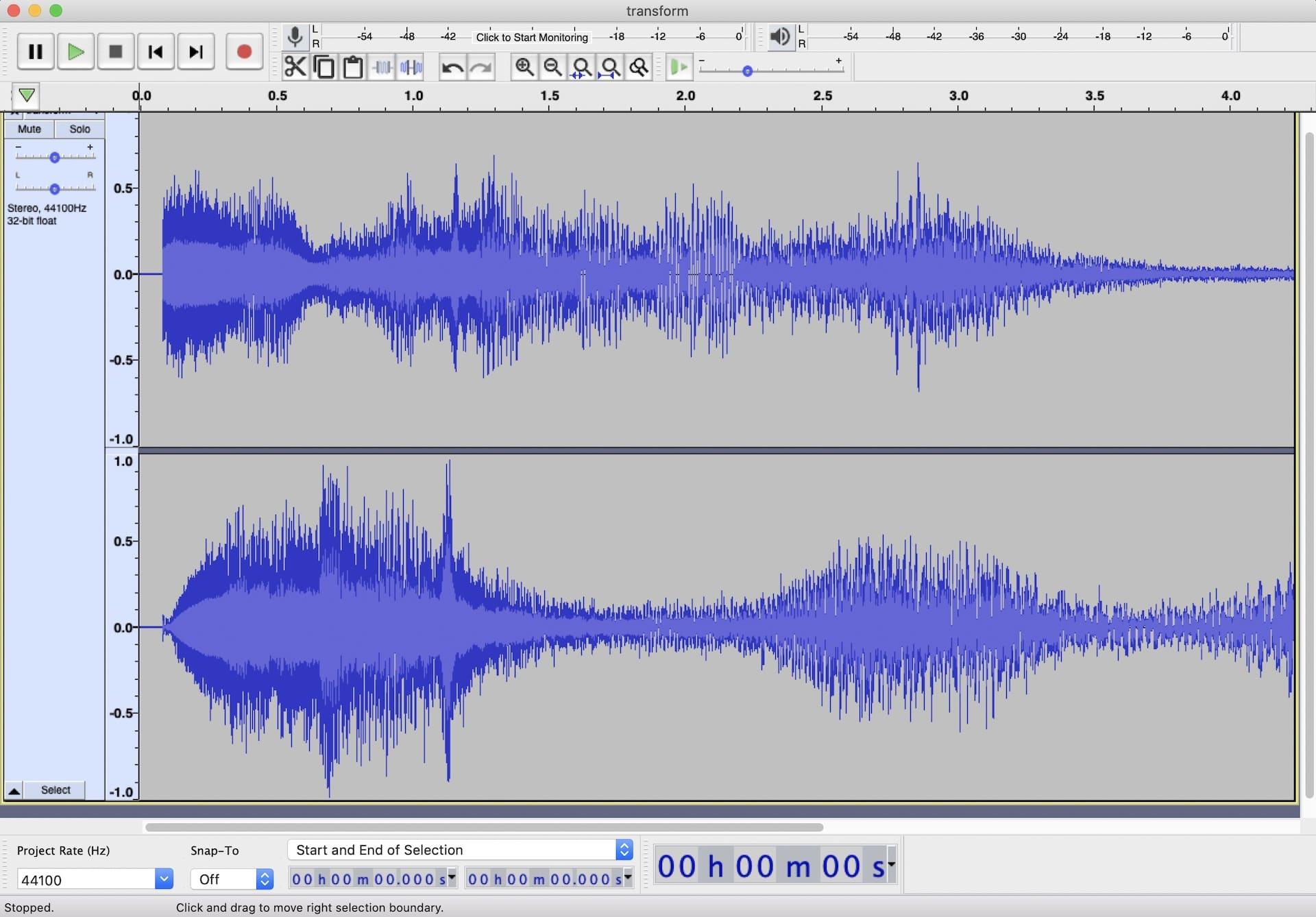 Wellenform unseres Sound-Sample - linker + rechter Kanal