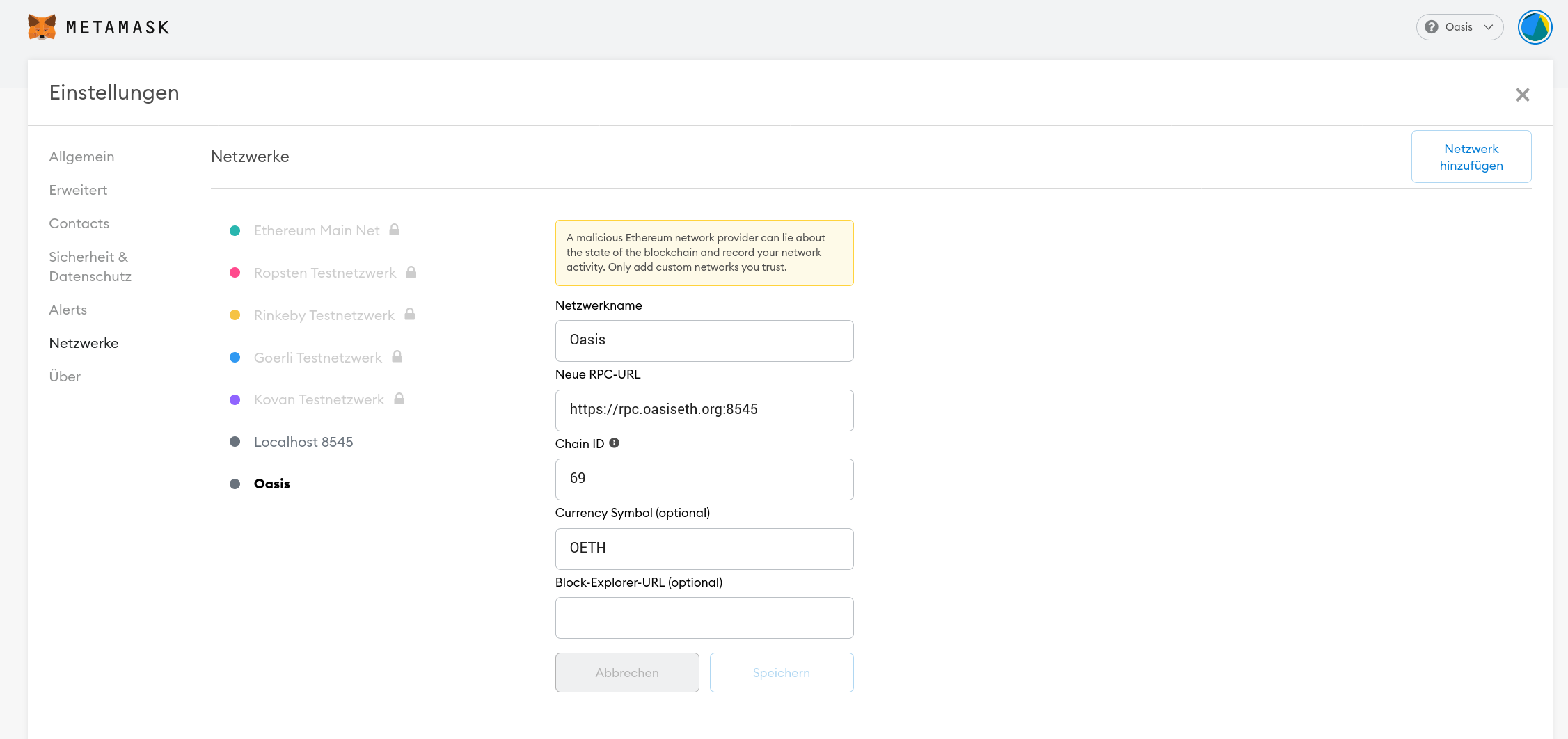 Metamask settings overview