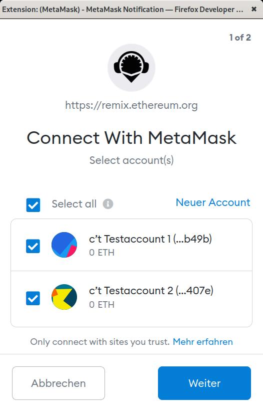 MetaMask fragt nach, ob und auf welche Ethereum-Accounts Remix zugreifen darf.