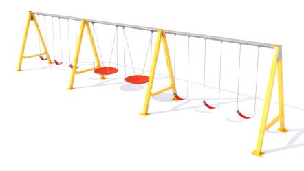 Columpio lineal con asientos de faja y tipo tándem.