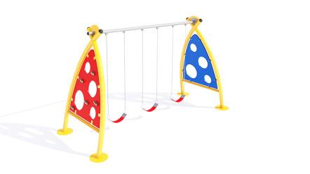 Columpio infantil con escaladores laterales.