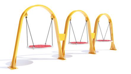 Columpio lineal de arcos, con asientos tipo tándem.