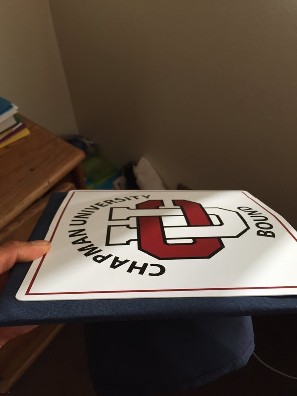 RT @luissupreme321: With the hint of Chapman Pride. Thanks for the cover for my cap 😊✌️ @ChapmanU  #ChapmanU https://t.co/HFMfQxsPlV