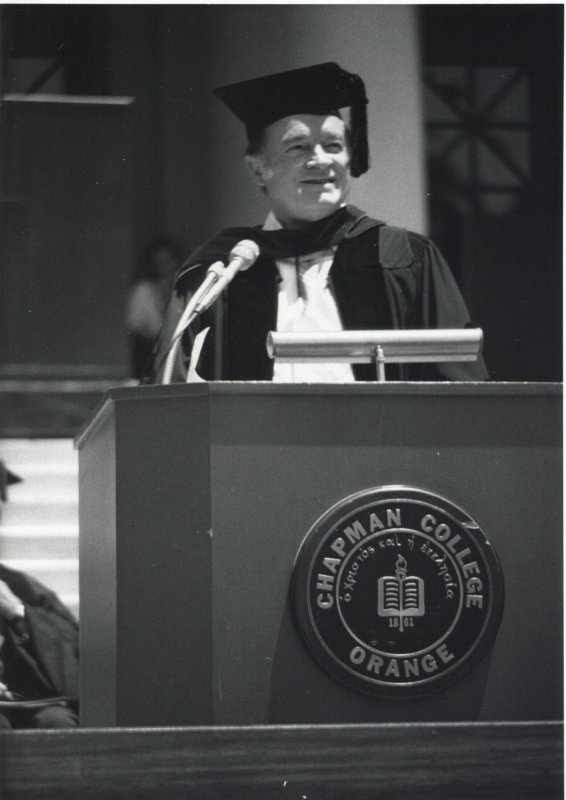 Throwback Thursday: Comedian Bob Hope addressed graduates at Commencement in 1974, received Chapman's first Presidential Citation. His son, Kelly, was one of the graduates. #tbt