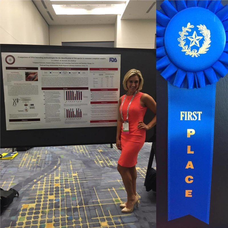 #TBT: Earlier this month, #FoodScience graduate student Sophia Pollack took first place in the Aquatic Food Products division competition at the Institute of Food Technologists (IFT) Annual Meeting in Chicago! Her poster was titled