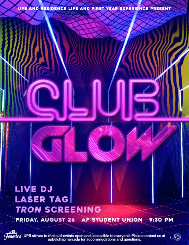 Attention Class of 2020! Join us Friday night for your first on-campus dance. Enjoy laser tag, a live DJ, a screening of Tron, and a night full of fun with your Orientation Leaders!