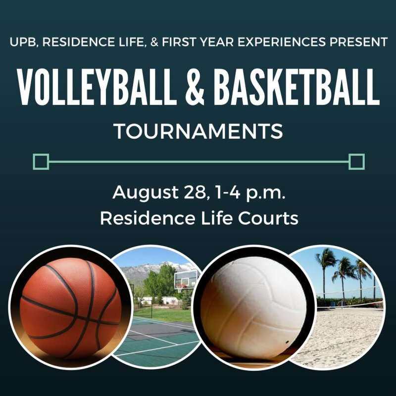 Come on down to the Res Life Courts for a basketball and volleyball tournament! Show up tomorrow, join a team, win some prizes!