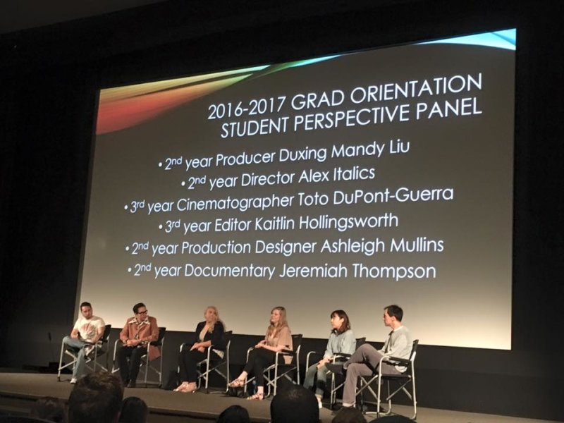 2nd and 3rd year grads are talking about their experiences to the incoming grad students today!