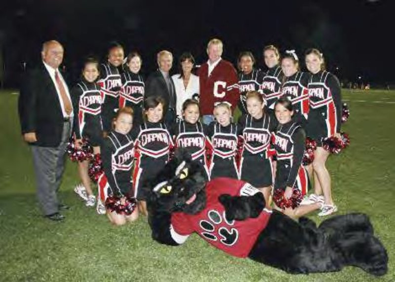 #FBF: Wilson Field was dedicated at homecoming in 2006. David and Holly Wilson joined Pete the Panther and the Chapman cheerleaders for a photo at the celebration.   Come watch the Panthers take on Pomona-Pitzer next Saturday at 7 p.m.