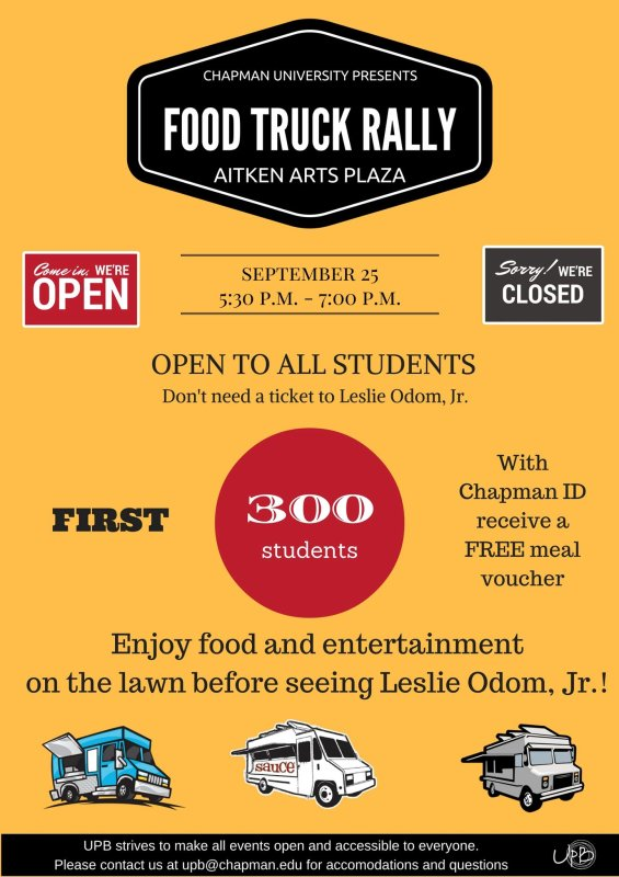 Did someone say FREE FOOD? Come on out to the Food Truck Rally at 5:30 p.m.! You don't need to have a ticket to Leslie Odom, Jr. to attend this event.