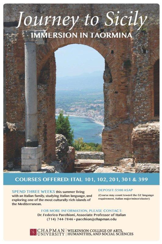 Journey to Sicily! Spend 3 wks living w/ an Italian family, studying Italian language. #ChapmanU https://t.co/6zOkEUDeIj