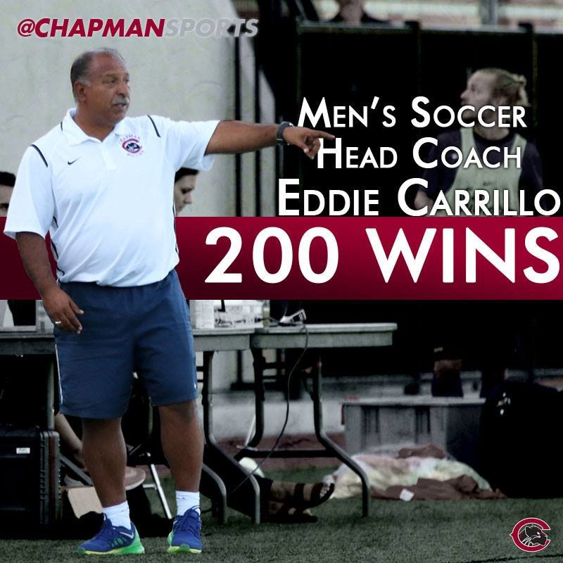 Congrats to men's soccer head coach Eddie Carrillo on his 200th career win last night! The Panthers beat CMS 3-0 on the road!