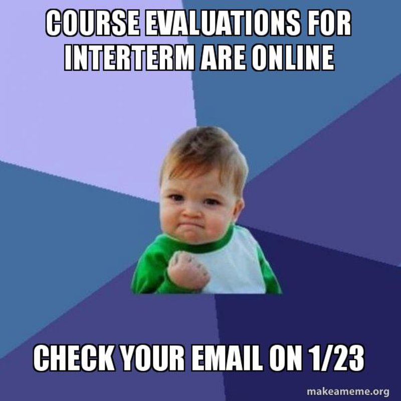 Course evaluations going online Monday, January 23!   @ChapmanIETL #ChapmanIETL https://t.co/KNSv2VQ2gI