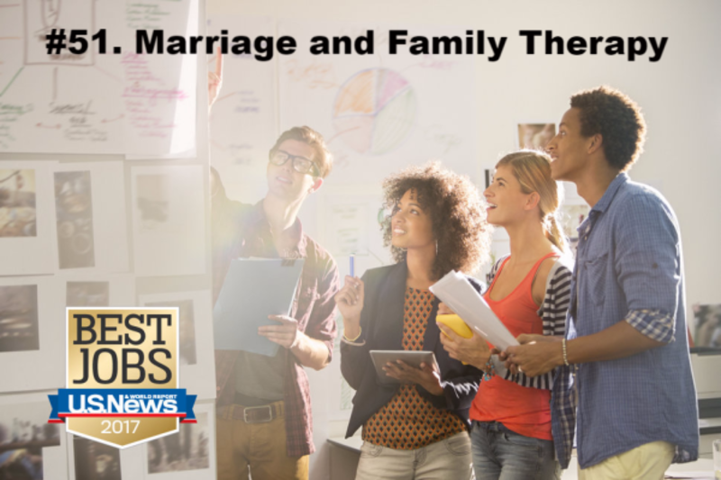 The profession of Marriage & Family Therapy is in the top 100 jobs in the US based on latest news from the US News & World Report!