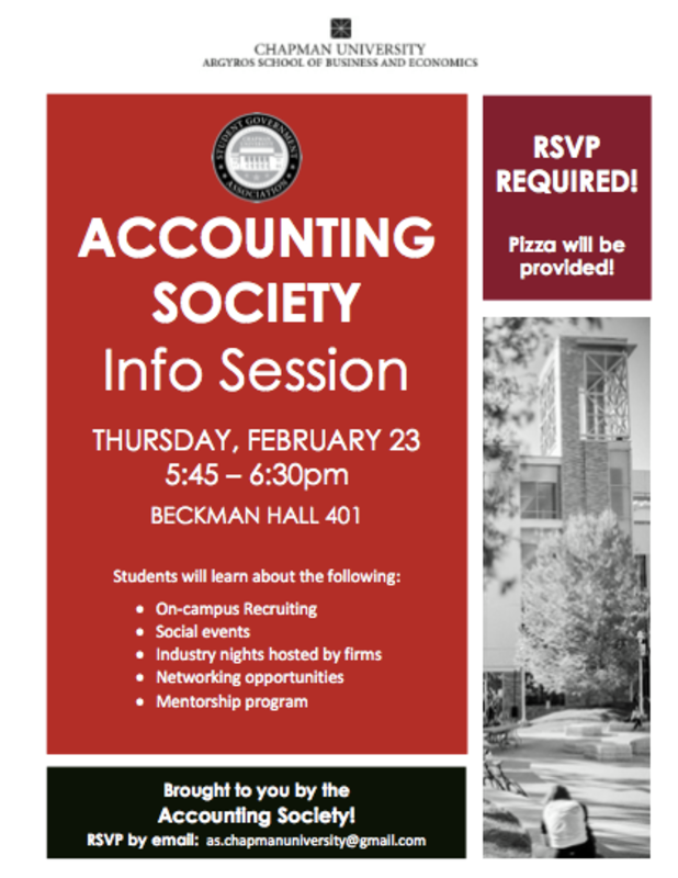 Are you interested in pursuing a career in accounting? Attend the upcoming Accounting Society Info Session this Thursday, February 23rd at 5:45 in BK 401! Pizza will be provided! Make sure to RSVP by email at as.chapmanuniversity@gmail.com #Accounting #ChapmanMSA #ChapmanMBA #CPA #AccountingSociety