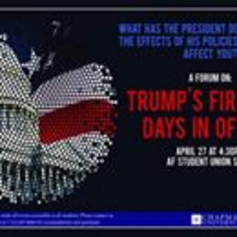 On Thursday, join Civic Engagement Initiatives for a discussion about President Trump's first 100 days in office. All are welcome to come with an open mind and respectful attitude. #100days #civicengagement #chapmanu