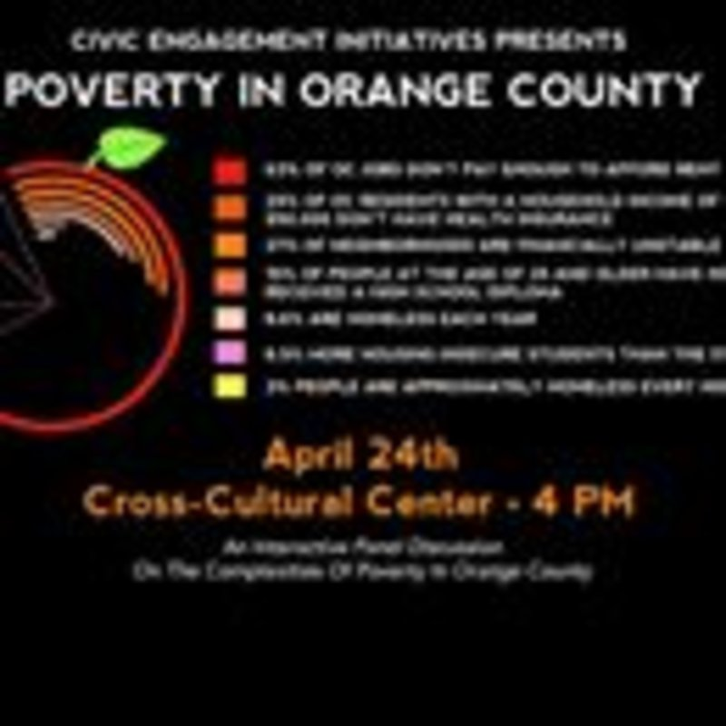 Come today at 4 PM to the Cross-Cultural Center to learn about and discuss the issue of poverty in our local community #PovertyinOC #civicengagement #chapmanu