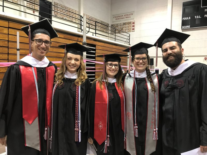 Our 2017 War and Society MA Graduates: (left to right):     Bijan Kazerooni, Maci Reed, Monica Freeman, Lauren Cruz, and Jason Schwartz