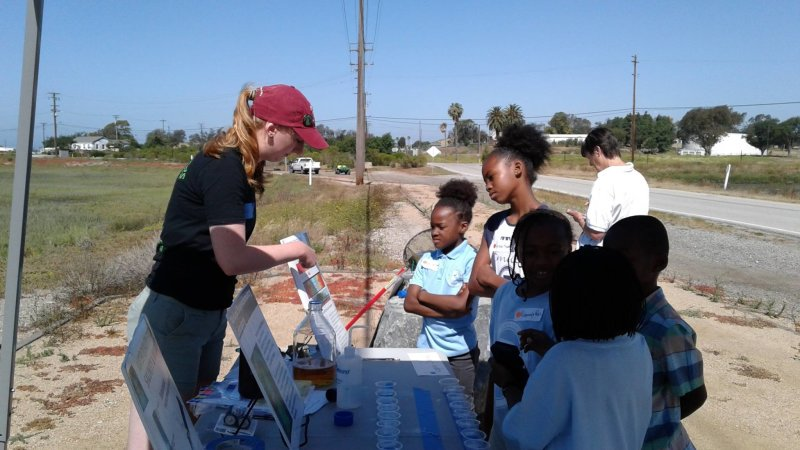 Last weekend, senior environmental science and policy major Haley Miller and #ChapmanU research associate Glenn Woerndle helped OC Girl Scouts earn their Woman in Science and Nature badges. Miller and Woerndle-- both members of Prof. Jason Keller's Wetland Biogeochemistry Lab (#swampmonsters)-- were invited to present a hands-on activity teaching the scouts how water quality effects wildlife at Seal Beach Wildlife Refuge. Four troops of OC girl scouts and their parents attended the event.