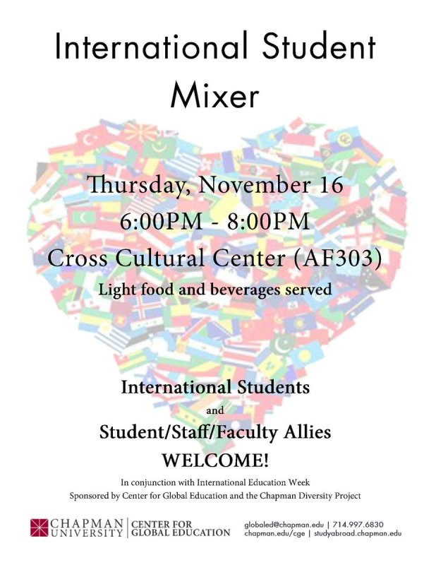 International Student Mixer starts at 6 p.m. in the AF303. #ChapmanU https://t.co/UuTNcvkpBh