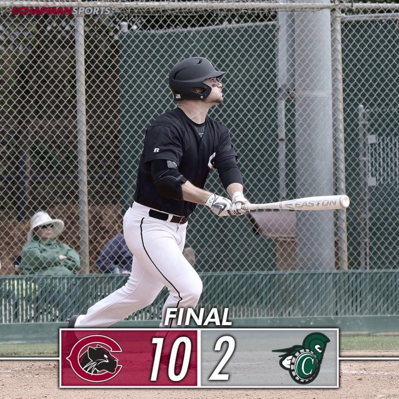 Conner Larkin hits a grand slam in the Panthers' 10-2 victory over Castleton!!! #weCUconner👀 #ChapmanU #d3baseball https://t.co/Tv32s9rr09