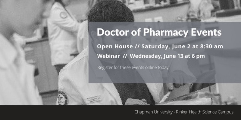 Want to become a pharmacist? Our Doctor of Pharmacy program has two events this summer! https://t.co/YMILnnjd4R https://t.co/0b4VP3MnxG