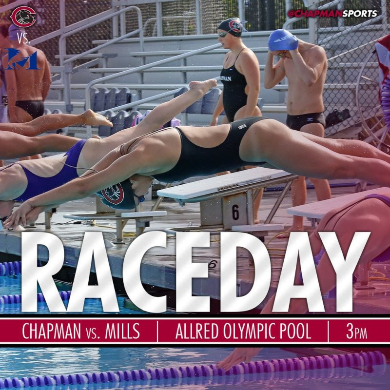 Celebrate your swim and dive seniors this afternoon as they take on Mills! #CUthere👀 #ChapmanU https://t.co/mJ78juQccW