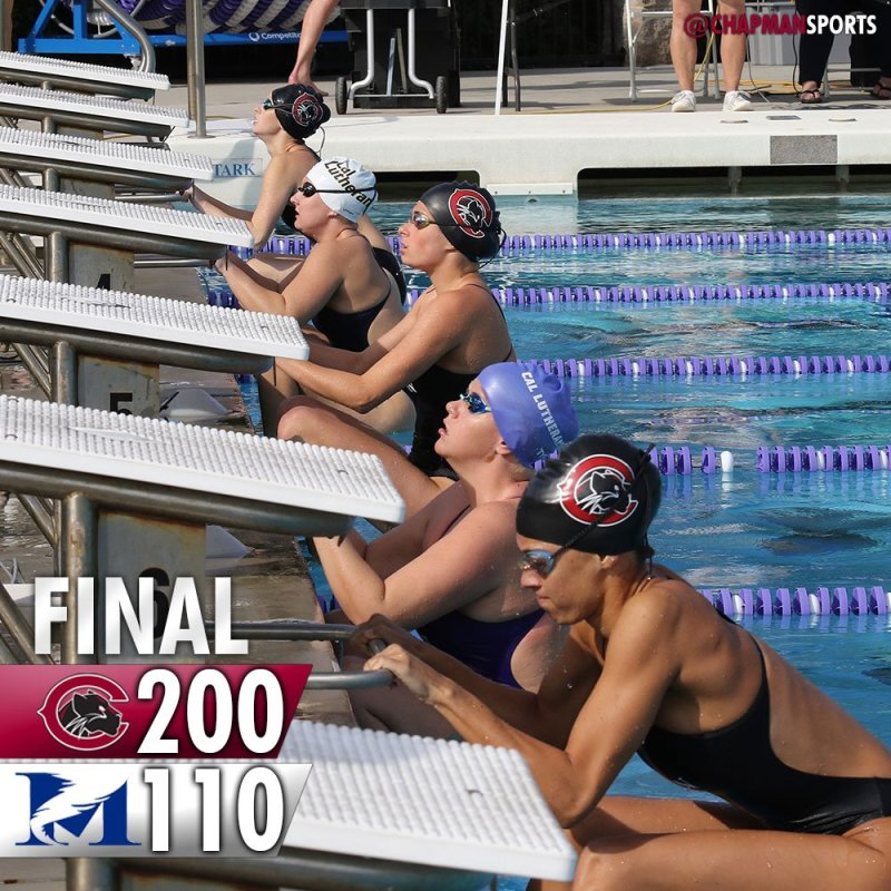 Swim and dive celebrated senior day with a victory over Mills! #weCUseniors 👀 #ChapmanU https://t.co/BeEUWxoEhM