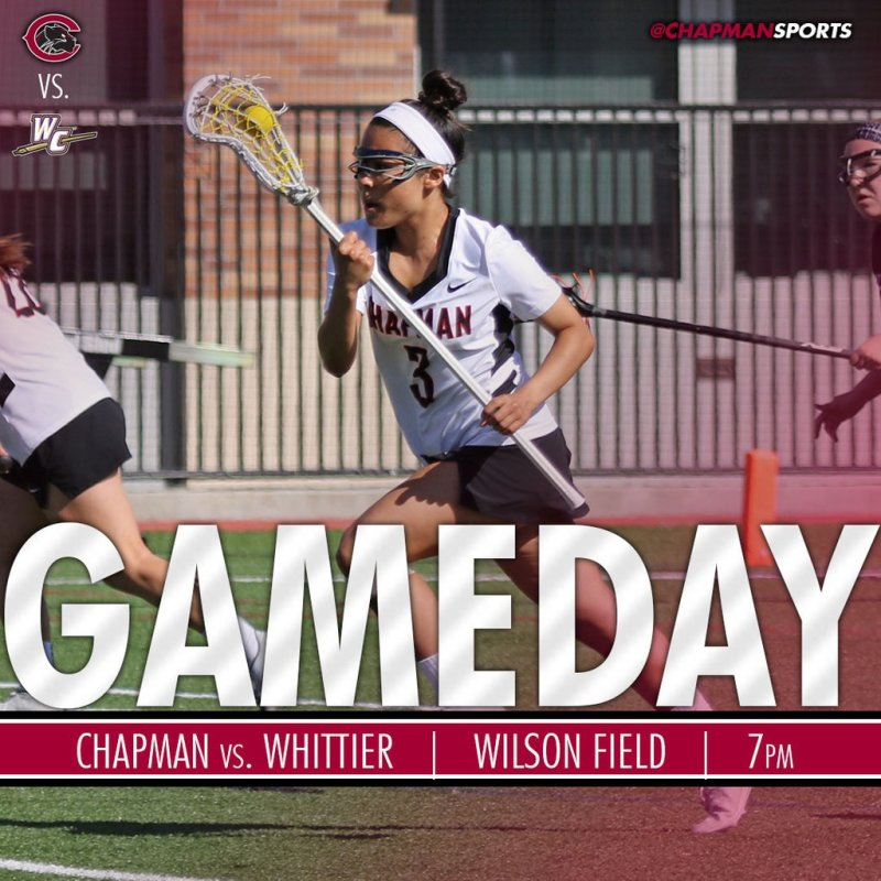 Head out to Wilson Field tonight to catch the women's lacrosse team as they host Whittier! #CUthere👀 #ChapmanU https://t.co/hikLYdwU6l