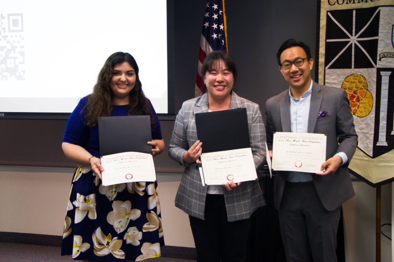 Chapman University graduate students participate in 2019 Three Minute Thesis (3MT®) Competition for Cash Prizes at Inaugural Graduate and Professional Student Excellence Dinner and Celebration